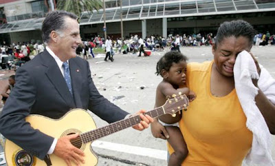 "Mitt Romney sings a discordant rendition of ""Bridge Over Troubled Water""."