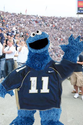 Cookie Monster on an official recruiting trip with BYU.
