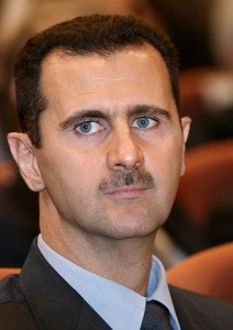 Assad before meeting with President Monson.