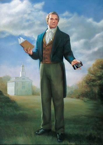 Joseph Smith with what appears to be an 1830's iPhone