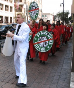 Even Reverend Billy and the gospel choir made it all the way from New York to protest Starbucks.