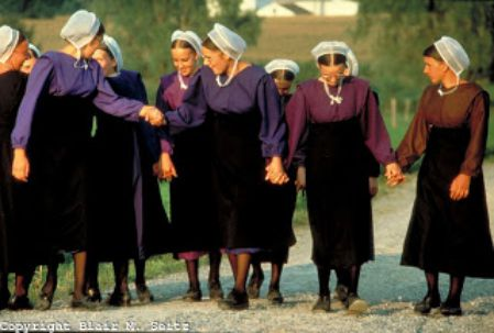 A group of Amish girls walk to their civil engineering classes.